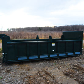 Roll-off hooklift dump body with dump gate and board pockets