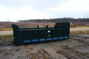 roll off hooklift dump body with dump gate and board pockets