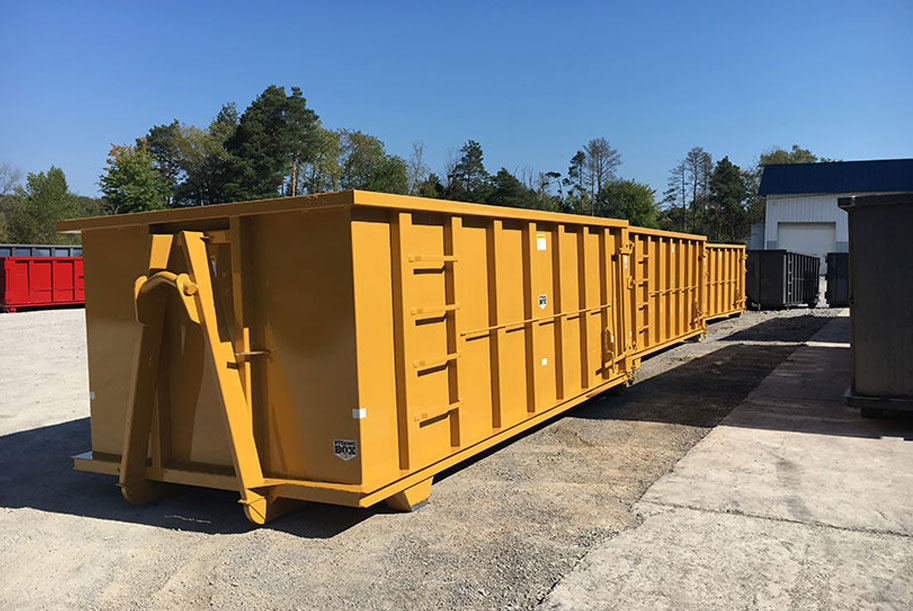 heavy duty yellow construction scrap hauling roll off container