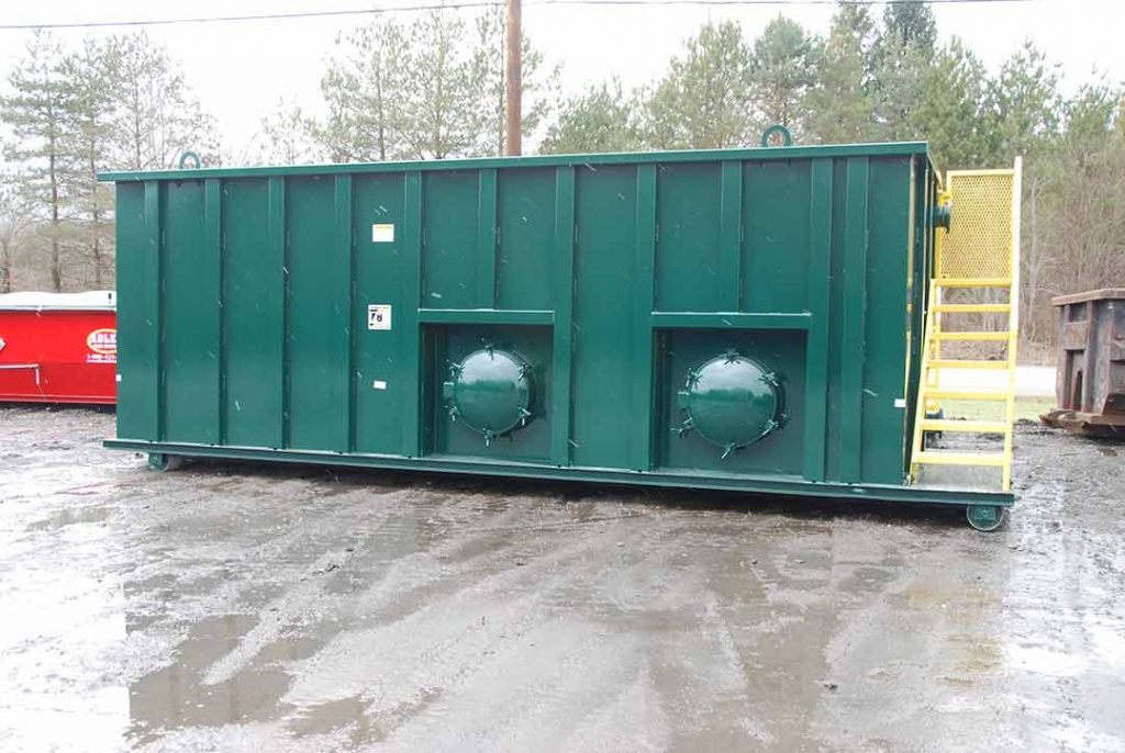 Custom Box Frac Tank rolloff container with two side manway doors