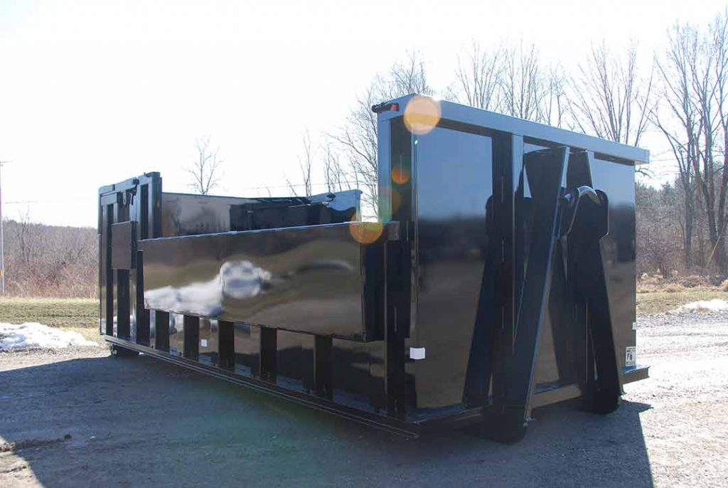 Custom Box rolloff container with collapsable pockets and hooklift style hookup