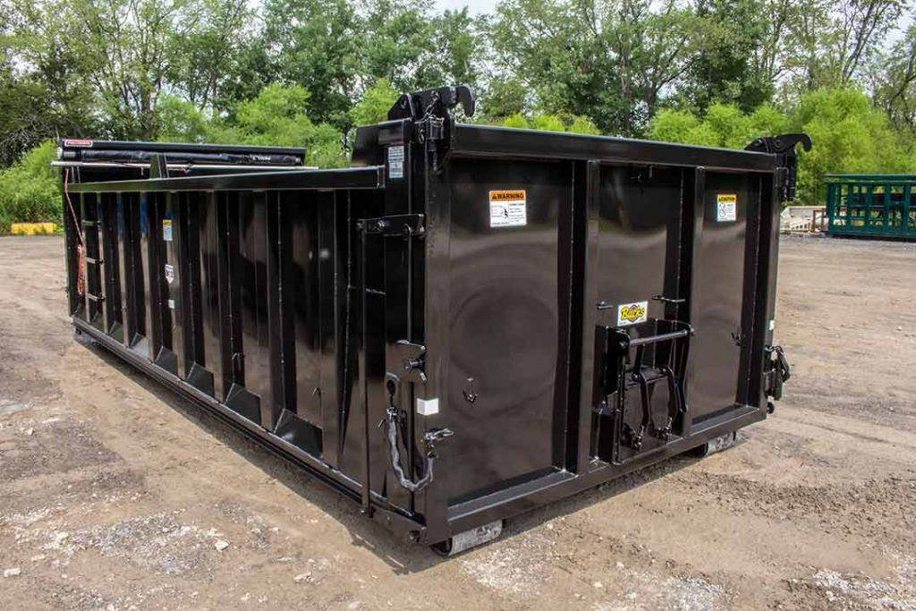 Custom Box dump body roll-off container with single coal chute, dump single swing style tailgate, and pull tarp system