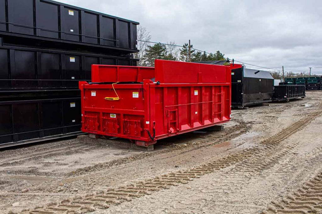 Custom Box dump body roll off container with steel boards, cab shield, dump gate with coal chutes, tarp, and more