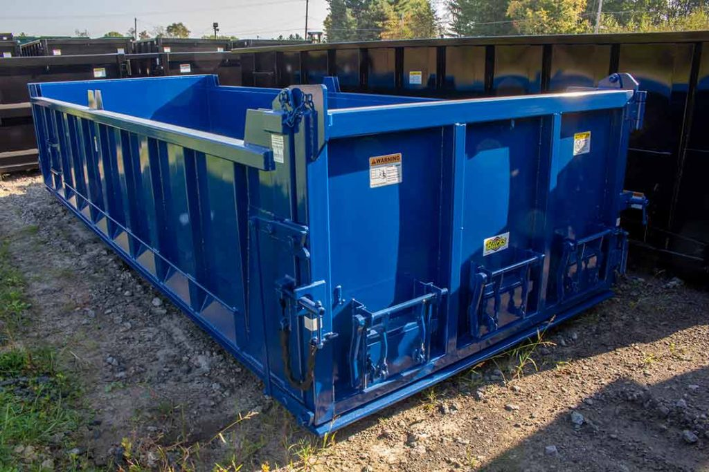 Blue dump body roll-off container with three coal chutes in the dump body tailgate