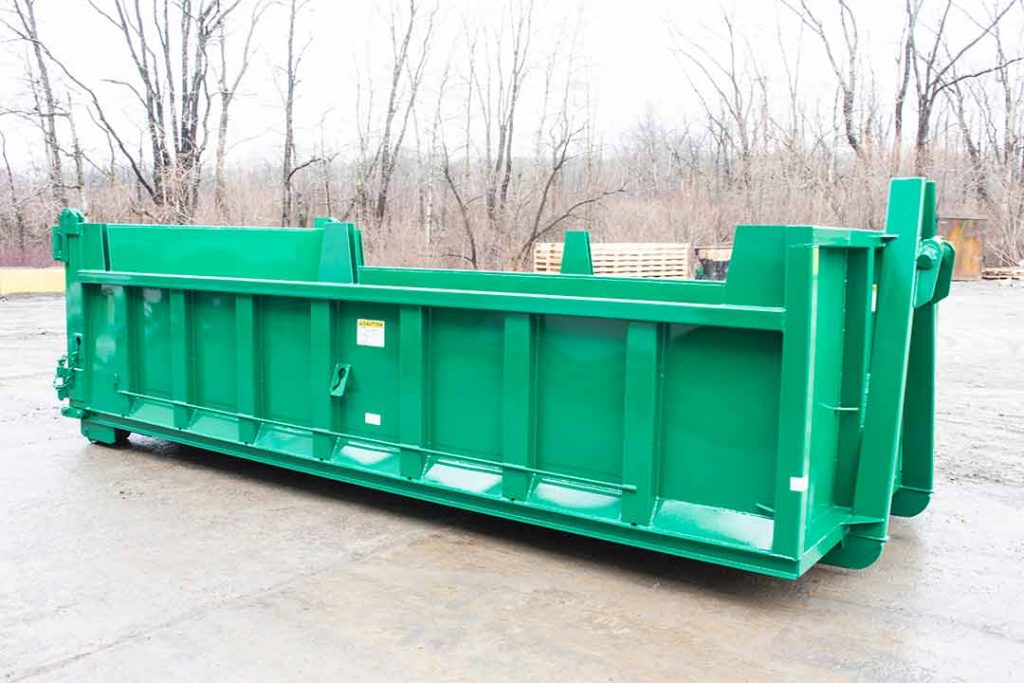 Green dump body roll-off container with hooklift style hookup, board pockets, and dump style tailgate