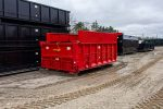 Custom Box Dump Body roll-off container with cab shield, removable steel sides, coal chutes, pull tarp, and ladder