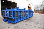 Blue Poly Box rolloff container with a double rolling roof with cable hookup