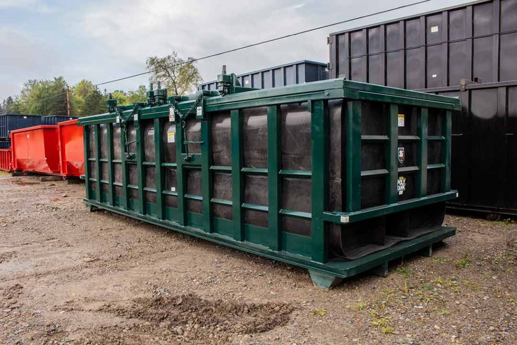 Green Poly Box rolloff container with Double Rolling Roof and cable hookup