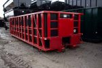 Red Poly Box rolloff container with Push Plates and Cable hookup