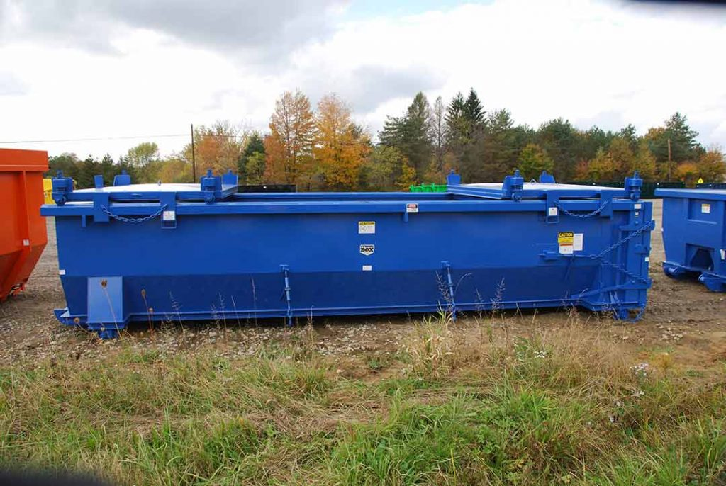 blue double rolling roof tub style roll-off container with lids open
