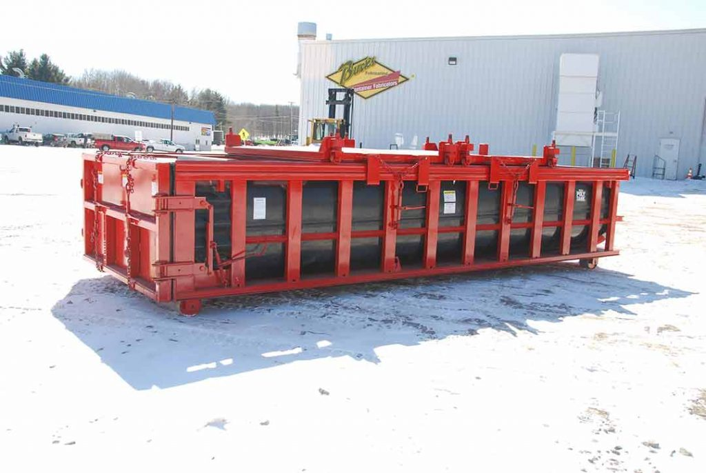red double rolling roof on a Poly Box roll-off container