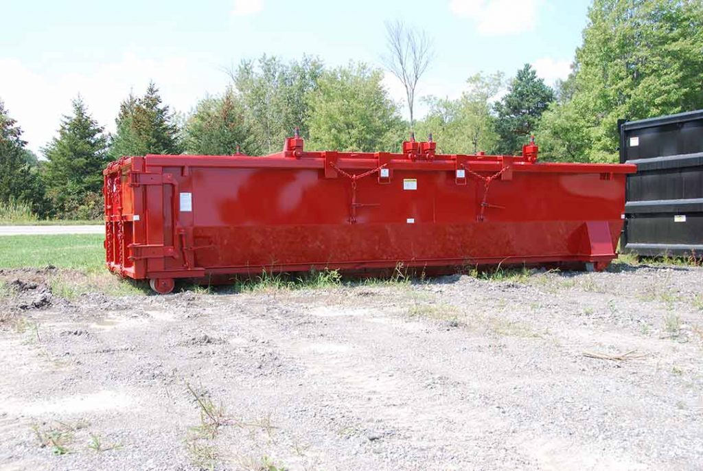 red in color double rolling roof tub style roll-off container