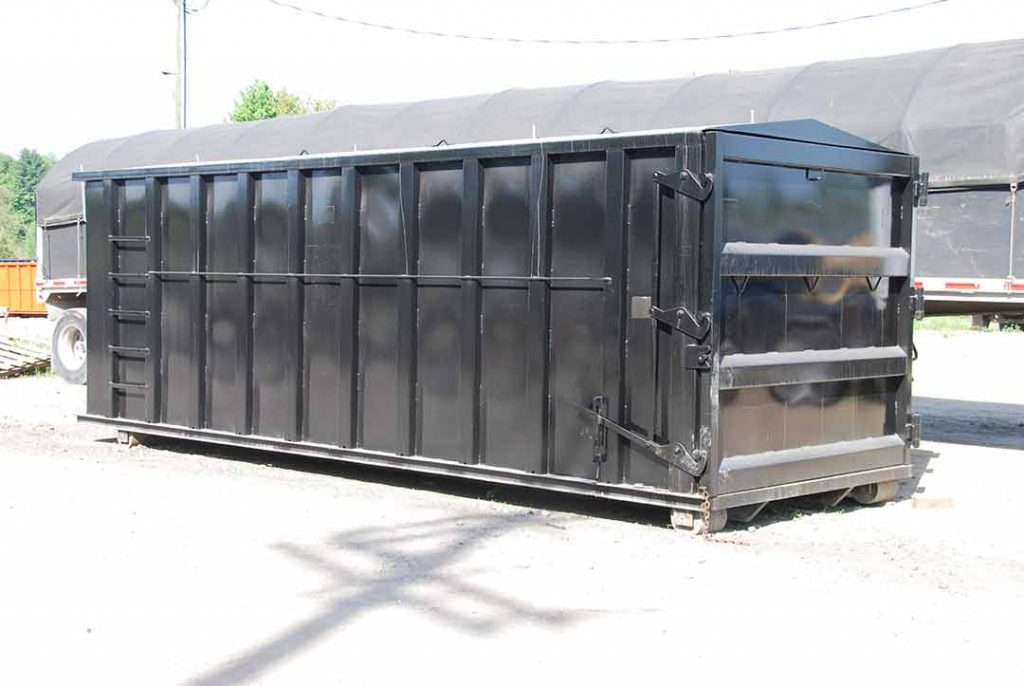 Black security style rolloff container with cable hookup and single side swing tailgate
