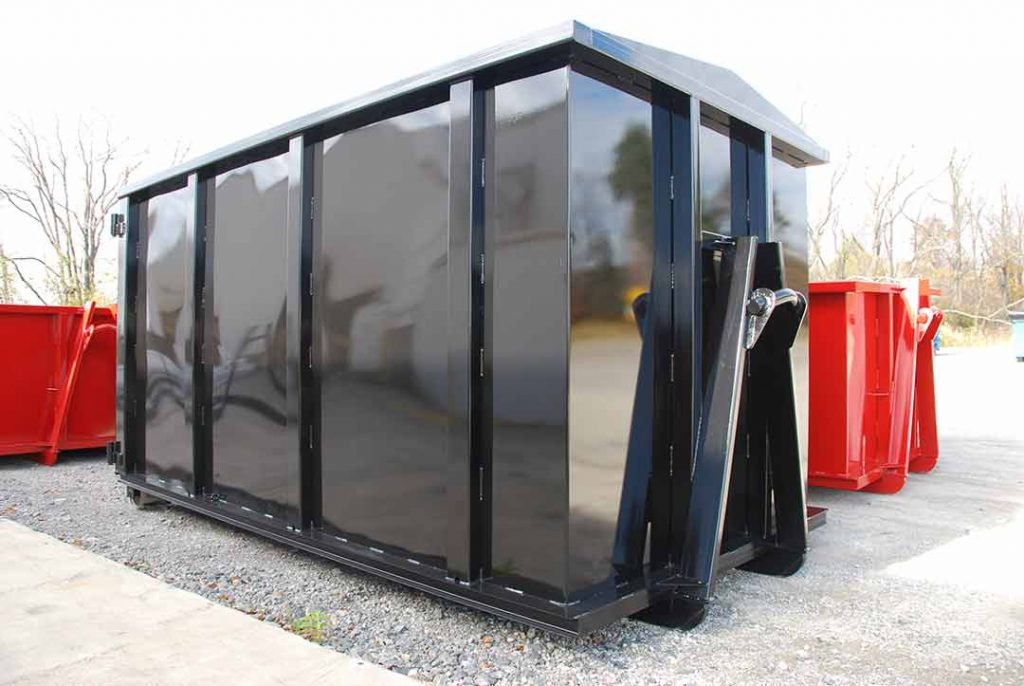 Black security style rolloff container with hooklift hookup, security style doors, and stitch welding