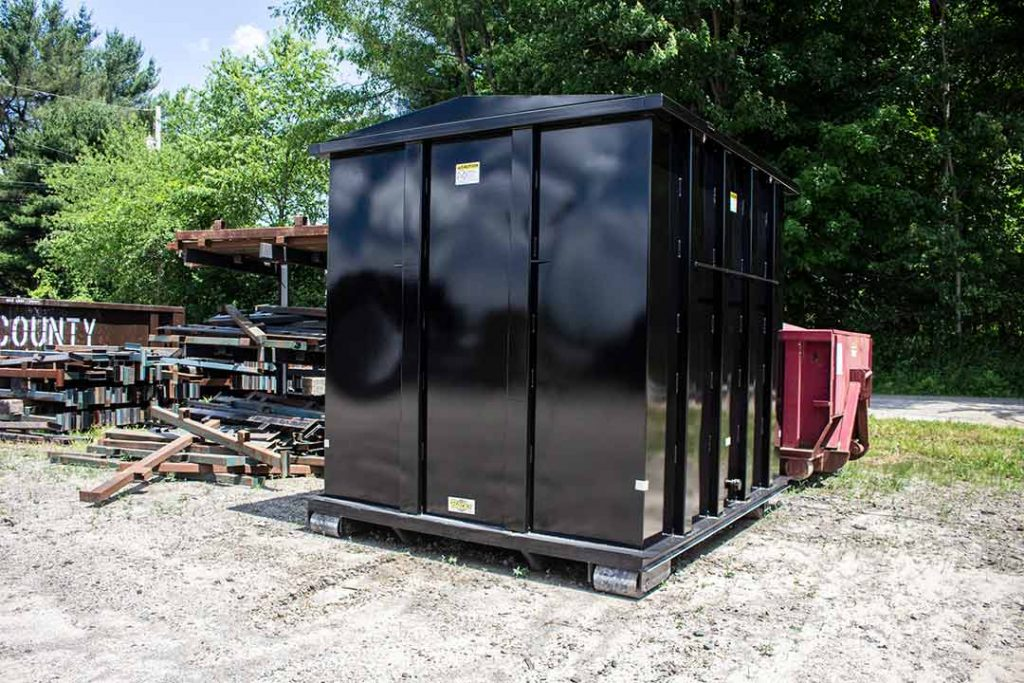 Black Custom security style roll off container with no gate and hooklift hookup
