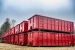 Red Strong Box rolloff containers with single side swing tailgate and cable hookup