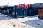 Blue Strong Box permanent mount container with single side swing tailgate