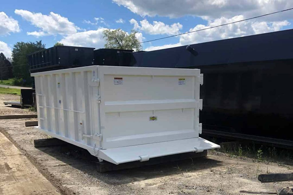 White Tough Box rolloff container with exposed beavertail and single side swing tailgate