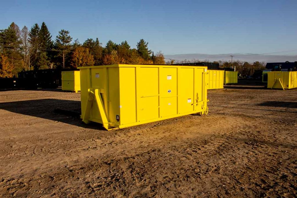 """Yellow Tough Box rolloff container with 36"""" hooklift hookup and single side swing tailgate"""