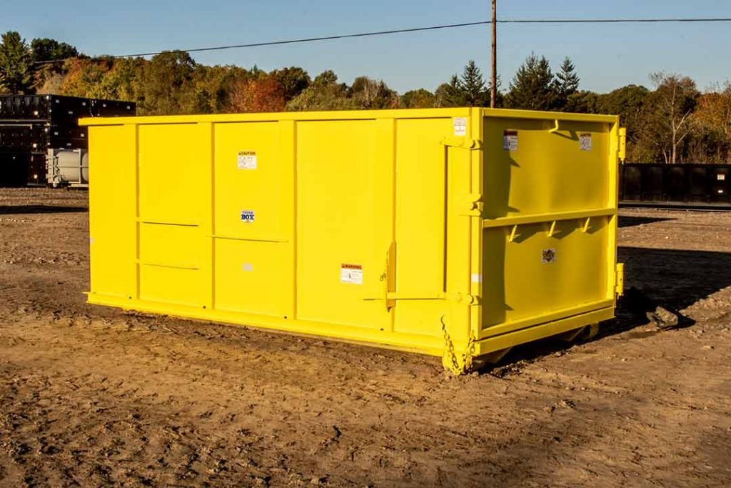 Yellow Tough Box rolloff container with hooklift hook up and light duty tailgate