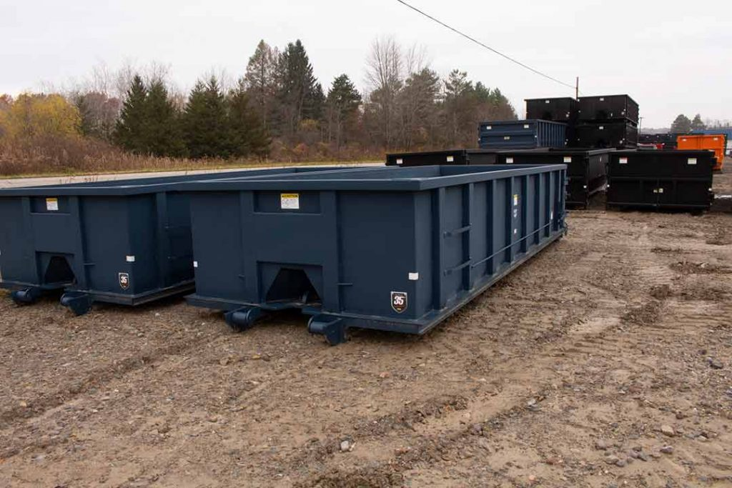 20YD Tough Box rolloff container with cable style hookup and single side swing tailgate