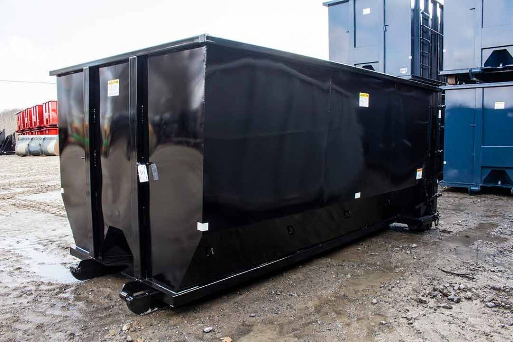 Black Tough Box tub style roll off container with cable style hookup and single side swing tailgate