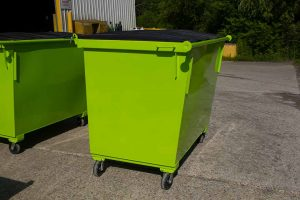 Lime Green 2YD Trash Box rear load small can container with lids and casters