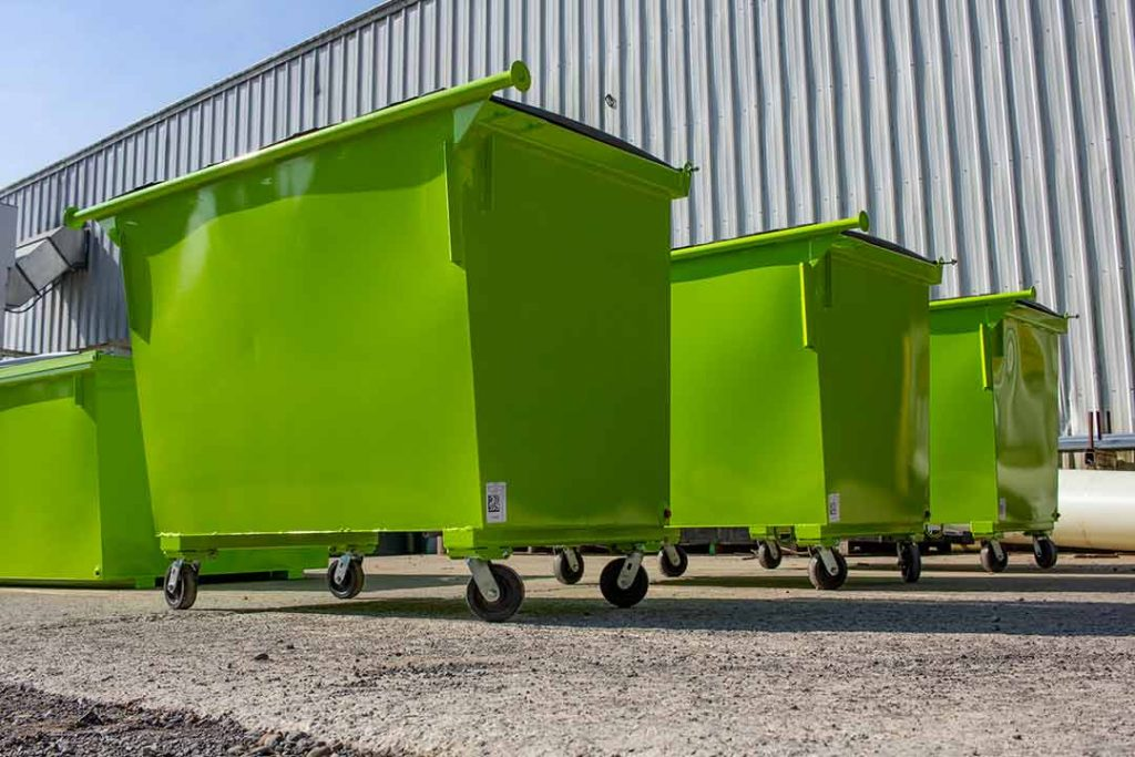 Lime Green 2YD Trash Box rear load small can container with lids. trunnion bar, and casters