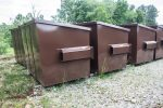 4YD K Brown Trash Box front load small can contianers with hinge tabs and fork pockets