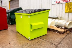 Lime green 2YD Trash Box front load slant lid small can container with fork pockets, drain plug, and lids