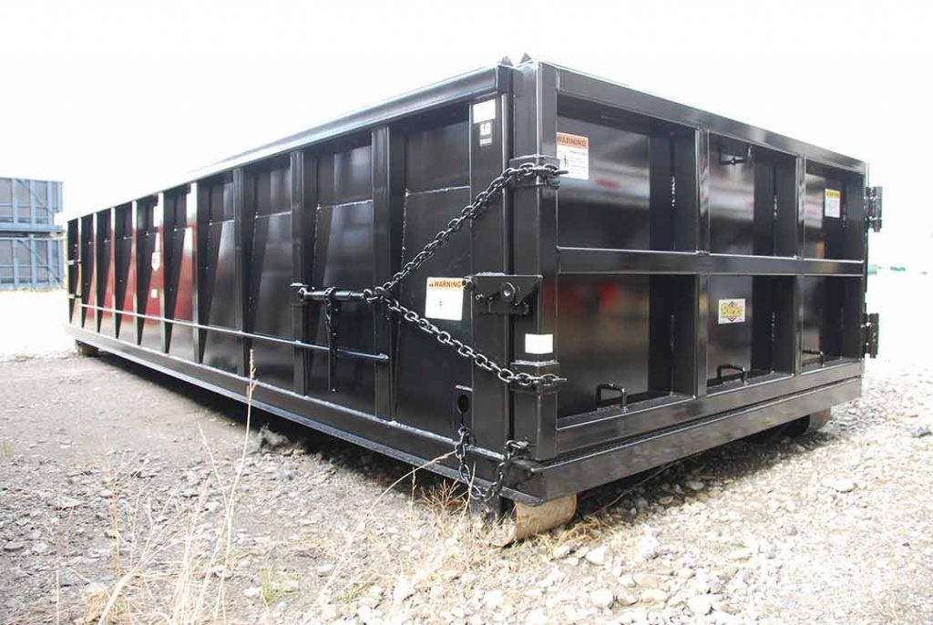 Black Ultra Box rolloff container with inverted angles, sealed 6 panel tailgate and side stiffeners