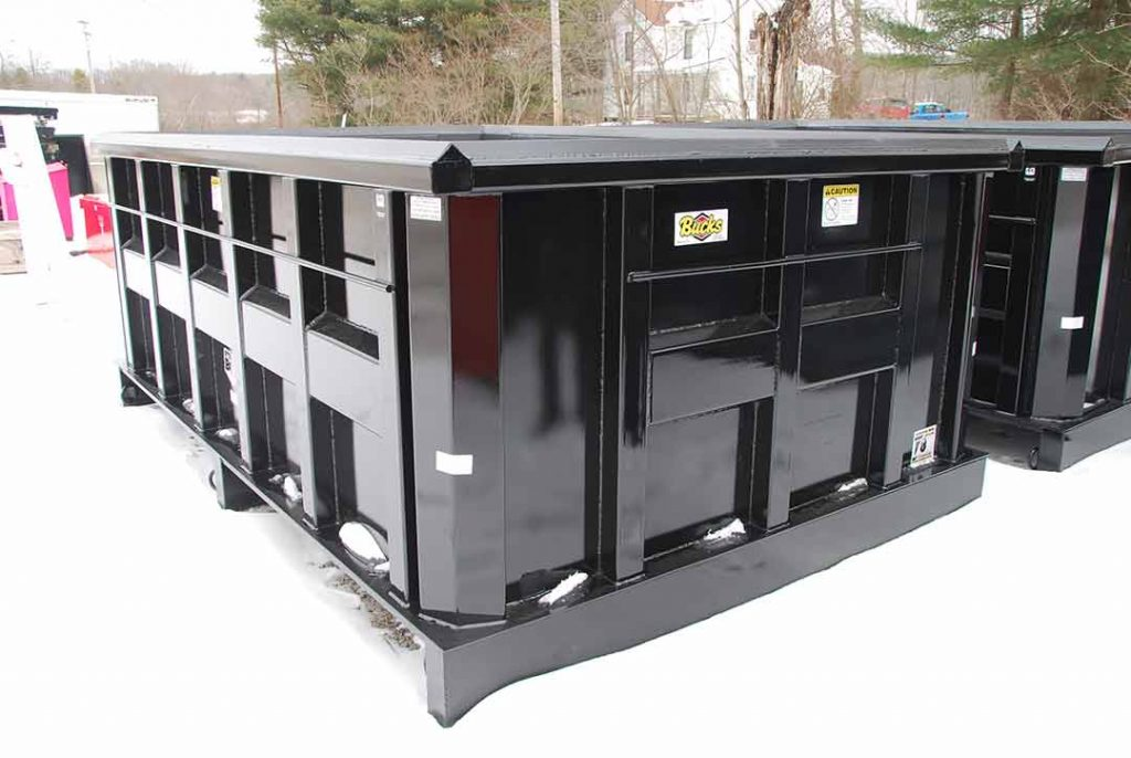 Black Ultra Box permanent mount container with new york sstyips, inverted angle, and D Rings on bottom crossmembers