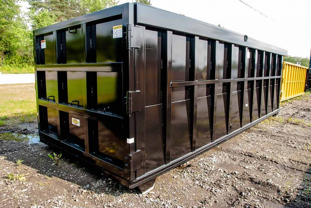 Black Ultra Box rolloff container with 9 panel tailgate, heavy duty top rail, and side stiffeners