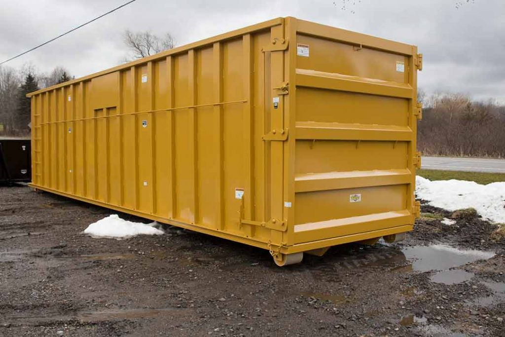 Yellow Ultra Box rolloff container with sign plates and additional side posts