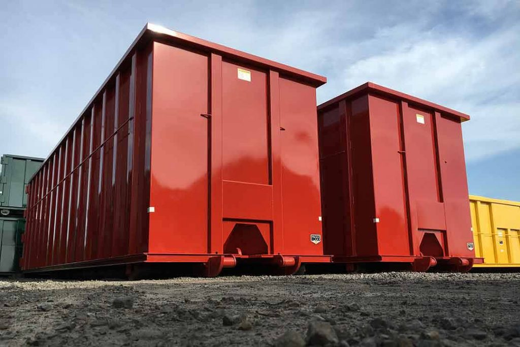 Red Ultra Box rolloff container for heavy duty scrap applications with cable style hookup