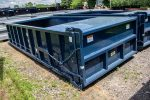 Blue Ultra Box rolloff containers with sealed dump style tailgate and splash plates