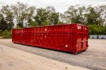 Red Ultra Box rolloff containers with 6 panel tailgate, new york strips, and side stiffeners